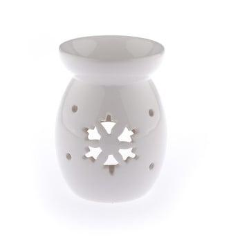 Lampă aromaterapie din ceramică cu model de fulg de nea Dakls, alb, înălțime 14 cm imagine