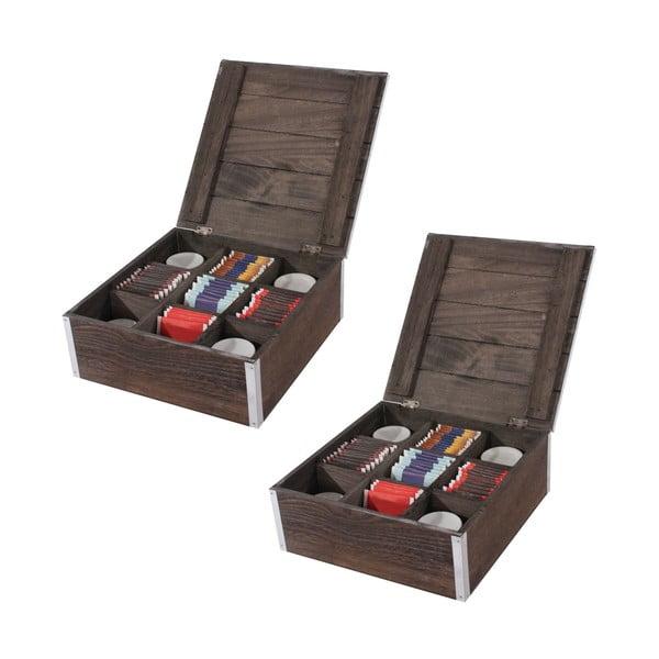Set 2 cutii pentru șosete/ cravate/ ceai Mendler Shabby, maro
