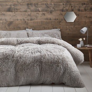 Lenjerie de pat din fleece Catherine Lansfield Cuddly, 135 x 200 cm, gri