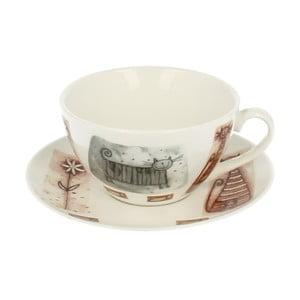 Porcelánový hrnek s podšálkem s motivem kočky Duo Gift, 300 ml
