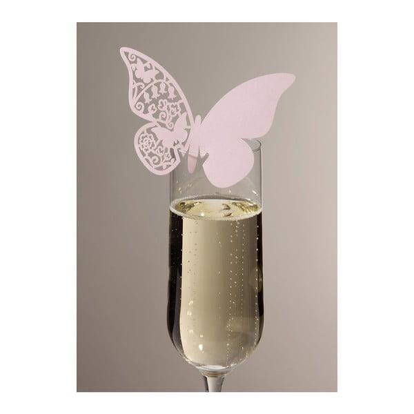 Sada 10 jmenovek/rozlišovačů na skleničky Butterflies, růžová