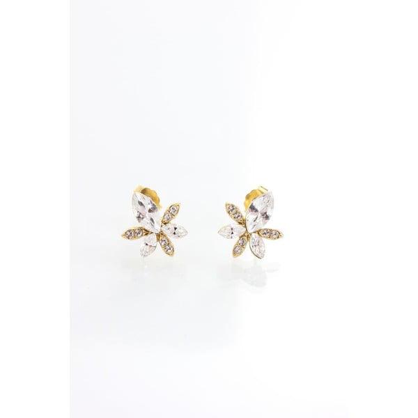 Náušnice se Swarovski krystaly Yasmine Golden Leaf