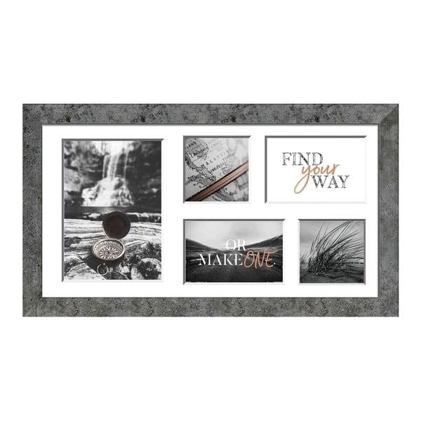 Šedý rámeček na 5 fotografií Styler Yellowstone, 27x51cm
