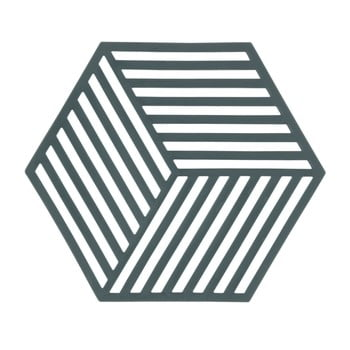 Suport din silicon pentru vase fierbinți Zone Hexagon, gri - verde imagine