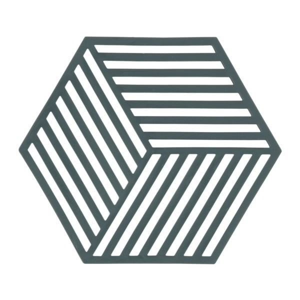 Suport din silicon pentru vase fierbinți Zone Hexagon, gri - verde