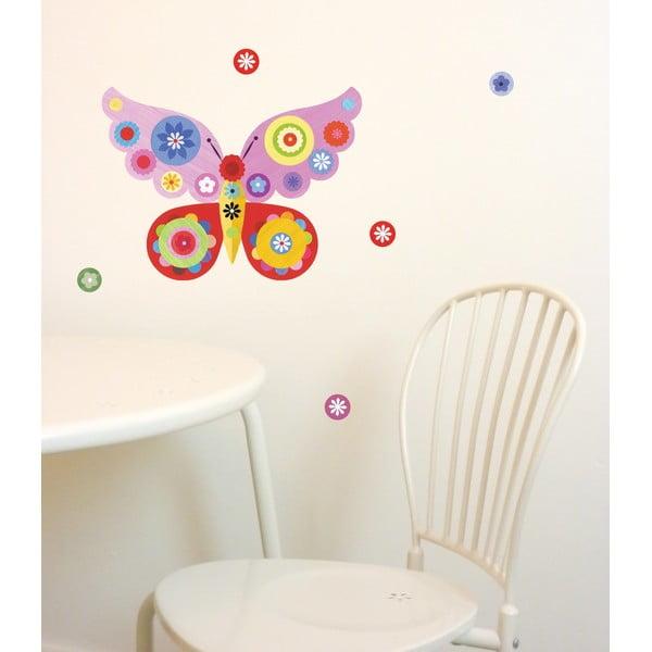 Znovu snímatelná samolepka Butterfly Mini Pink, 30x21 cm