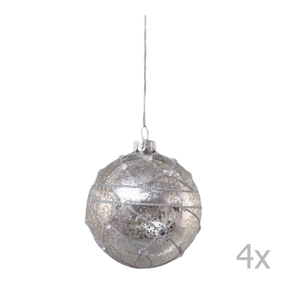 Sada 4 zdobených vánočních koulí Ego Dekor, šířka 8 cm