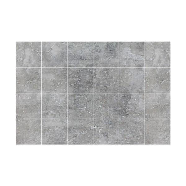 Sada 24 samolepek na zeď Ambiance Grey Cloudy, 15x15cm