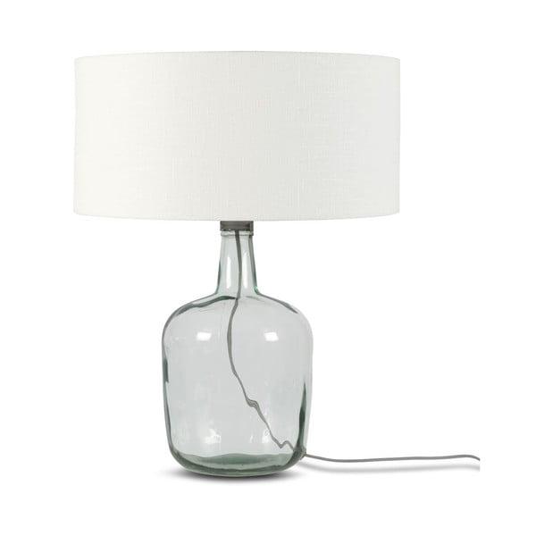 Stolová lampa s bielym tienidlom a konštrukciou z recyklovaného skla Good&Mojo Murano, ⌀ 47 cm