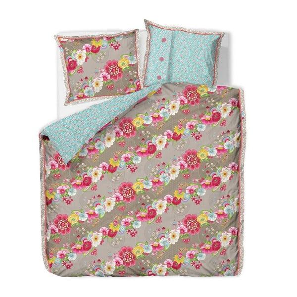 Povlečení s polštářem Swinging Flowers 140x220 cm, khaki