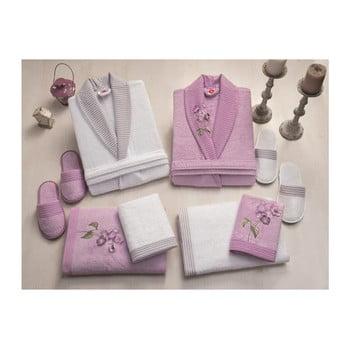 Set halate de femeie și bărbat, 2 prosoape și 2 perechi papuci Family Bath, alb - mov