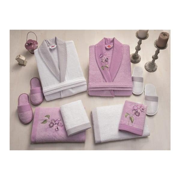 Zestaw damskiego i męskiego szlafroka, ręczników i pantofli w białym i fioletowym kolorze Family Bath