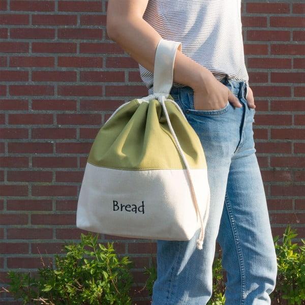 Sac din bumbac pentru pâine Furniteam Bread, verde - alb