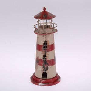 Kovový závěsný svícen Red Stripes Lighthouse, 22 cm