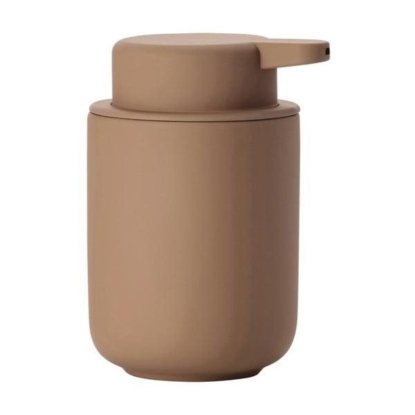 Dispensor din ceramică pentru săpun Zone Ume Amber, 250 ml, maro ambră