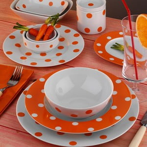 Porcelánový talířový set Yasemin Orange, 24 ks