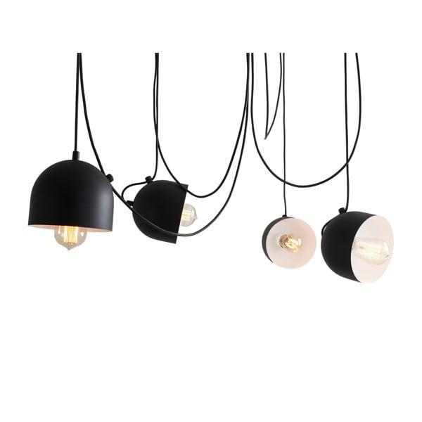 Čierne závesné svietidlo na 4 žiarovky Custom Form Popo