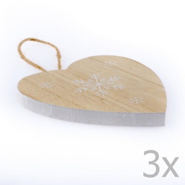 Set 3 decorațiuni în formă de inimă Dakls Snowflake, înălțime 11 cm