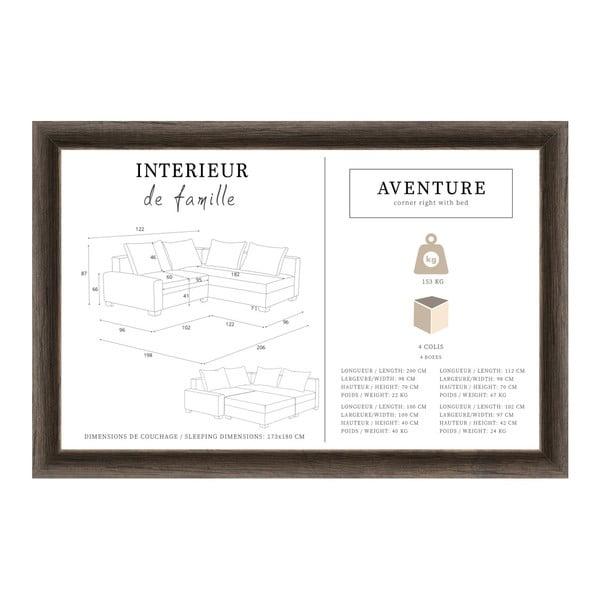 Světle šedá rohová pohovka s lůžkem na pravé straně INTERIEUR DE FAMILLE PARIS Aventure