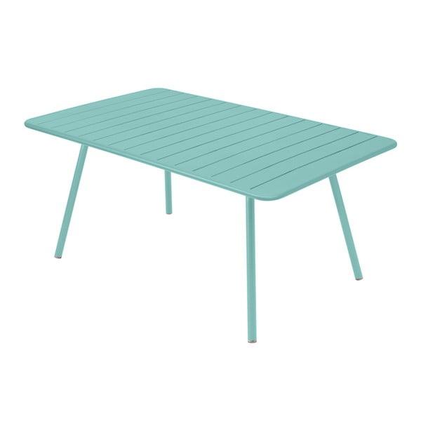 Nebesky modrý kovový jídelní stůl Fermob Luxembourg