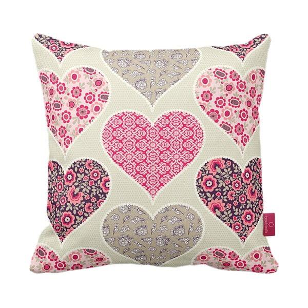 Polštář Pink Hearts, 43x43 cm