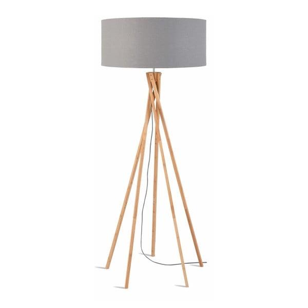 Stojací lampa se světle šedým stínidlem a konstrukcí z bambusu Good&Mojo Kilimanjaro