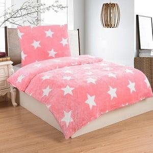 Lenjerie de pat din micropluș My House Stars, 140 x 200 cm, roz-alb