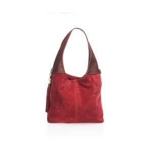 Vínově červená kožená kabelka Lisa Minardi Harena