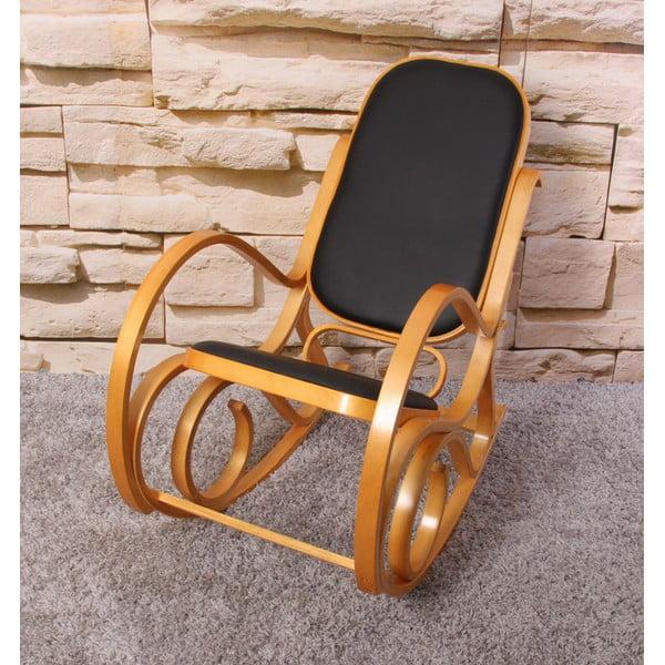 Houpací židle Shabby, medová s černým polstrováním