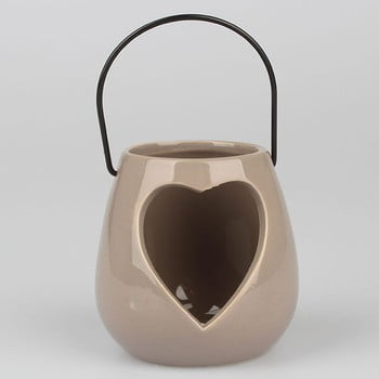 Felinar în formă de inimă Dakls, gri imagine