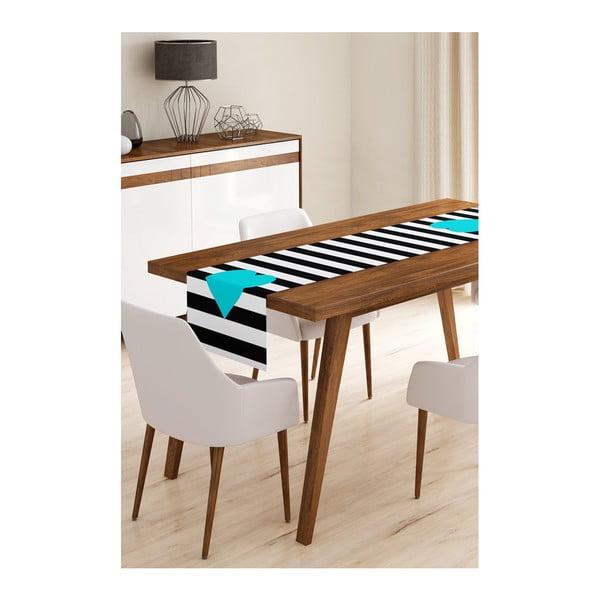 Napron din microfibră pentru masă Minimalist Cushion Covers Stripes with Blue Heart, 45x145cm