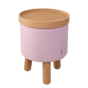 Růžová stolička s detaily z bukového dřeva a odnímatelnou deskou Garageeight Molde, ⌀35cm