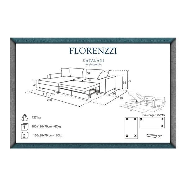 Béžová pohovka Florenzzi Catalani s lenoškou na levé straně