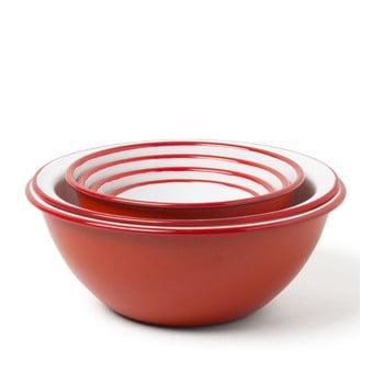 Set 5 boluri de bucătărie smălțuite și strecurătoare Falcon Enamelware, roșu de la Falcon Enamelware