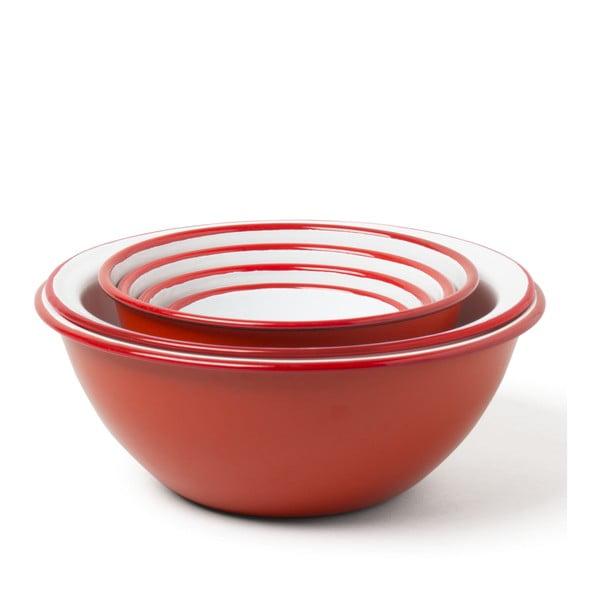 Set 5 boluri de bucătărie smălțuite și strecurătoare Falcon Enamelware, roșu