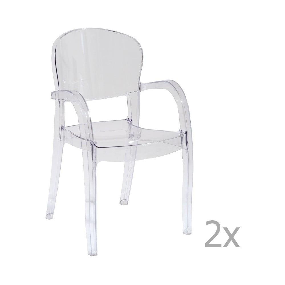 Sada 2 transparentních jídelních židlí s područkami Castagnetti Penelope