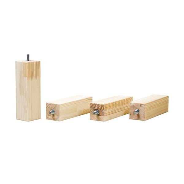 Set 4 picioare înălțătoare din lemn lăcuit de molid natural pentru patul Benlemi,înălțime20cm