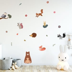 Set autocolante pentru perete Ambiance Scandinavian Animals Bear and his Friends