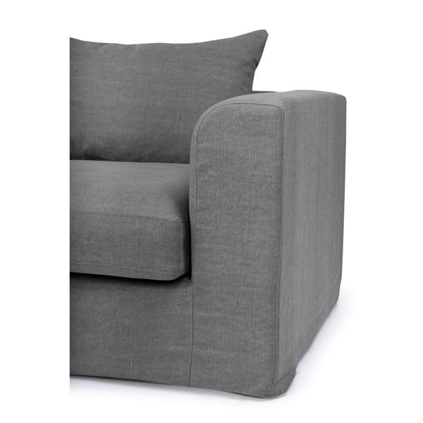 Canapea cu 3 locuri cu șezlong pe partea stângă SoftNord Portland, gri închis