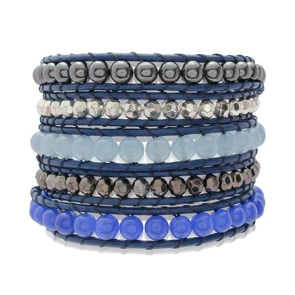 Modrý pětiřadý náramek z pravé kůže s perlami Lucie & Jade
