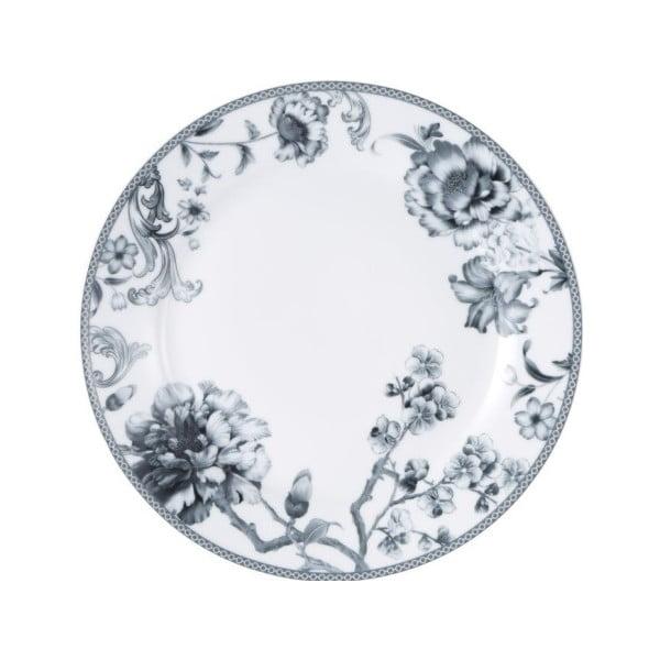 Biało-szary porcelanowy talerz Bergner Olivia, ⌀ 26,2 cm