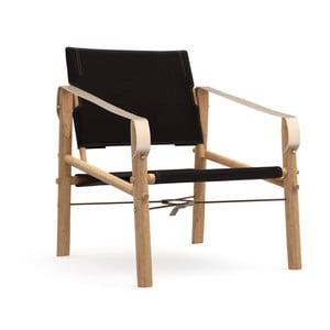 Černé skládací křeslo s konstrukcí z bambusu Moso We Do Wood Nomad