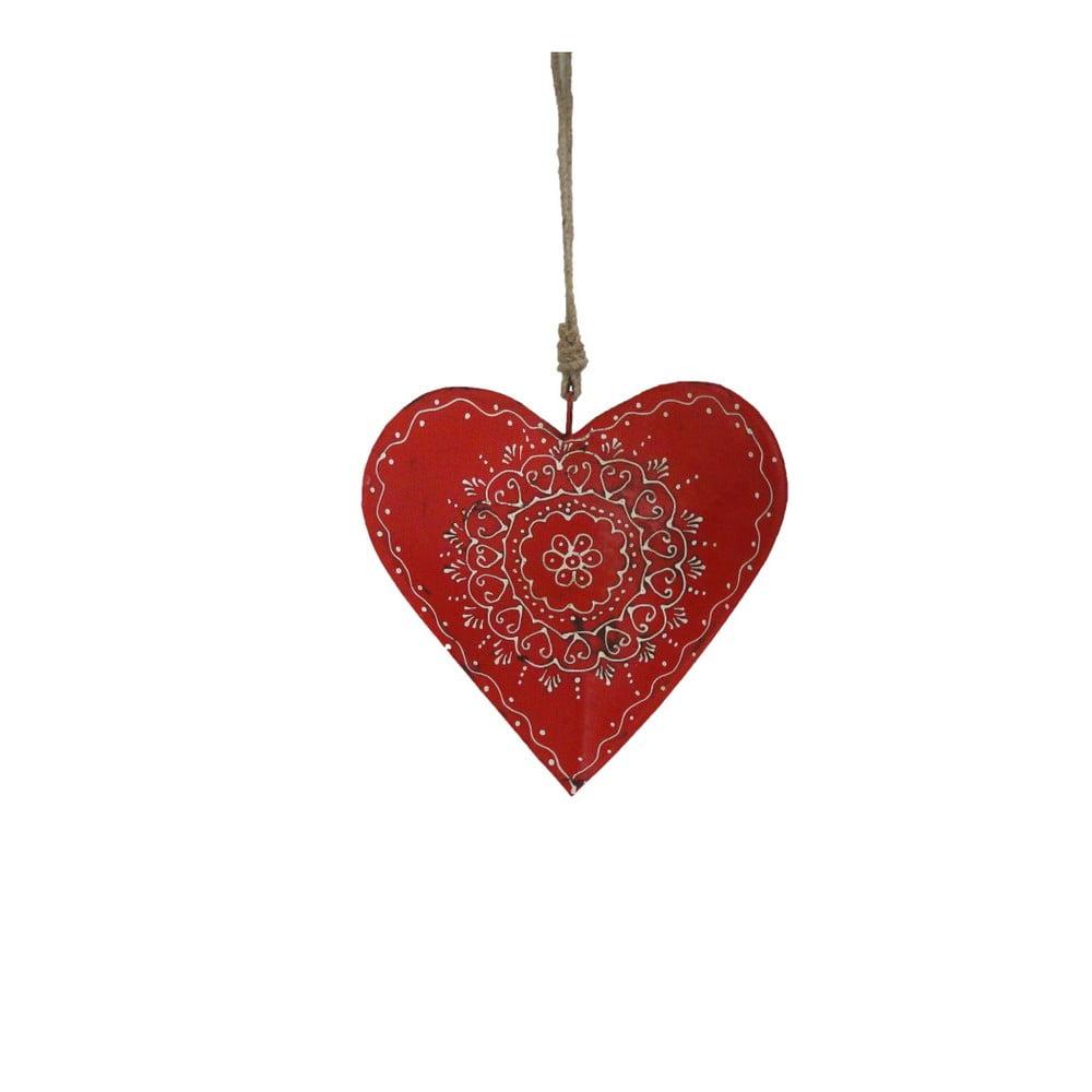 Závěsná dřevěná dekorace ve tvaru srdce Antic Line Red Warm