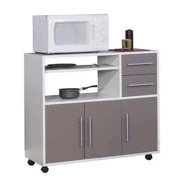 Sistem depozitare pe roți pentru bucătărie, cu rafturi TemaHome Marius, gri
