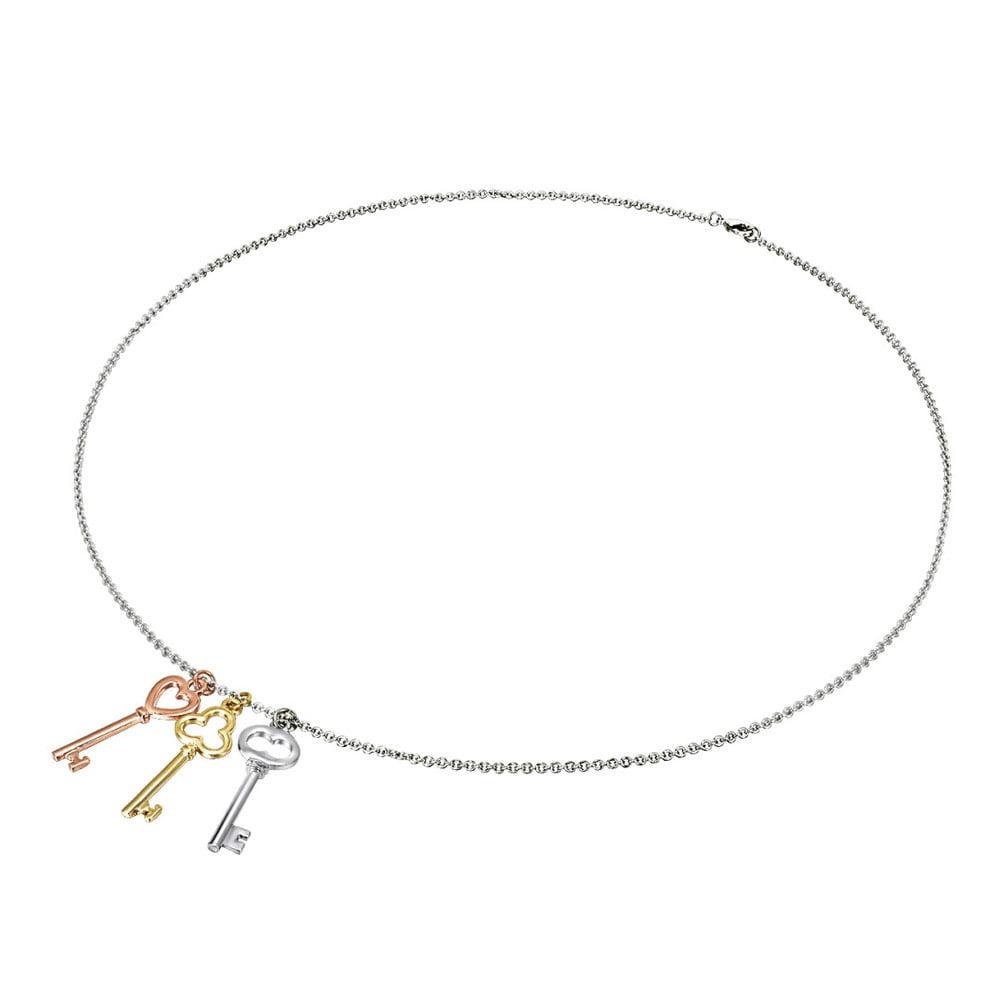 4fcc095d5 Dámský náhrdelník s přívěskem ve stříbrné, zlaté a růžovozlaté barvě  Tassioni Key
