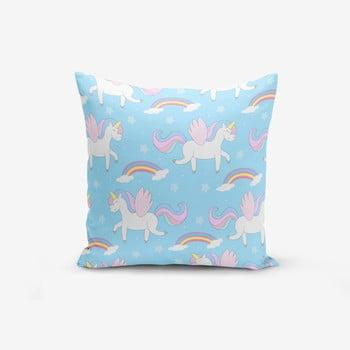 Față de pernă cu amestec din bumbac Minimalist Cushion Covers Blue Background Unicorn Rainbows, 45 x 45 cm