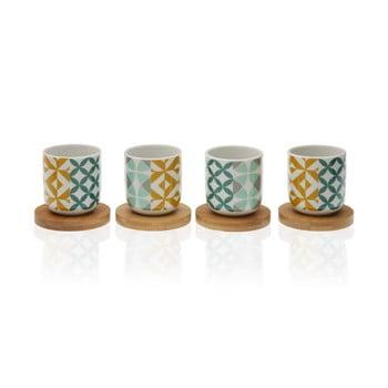 Set 4 cești din porțelan cu suport din bambus Versa Aquamarina de la Versa