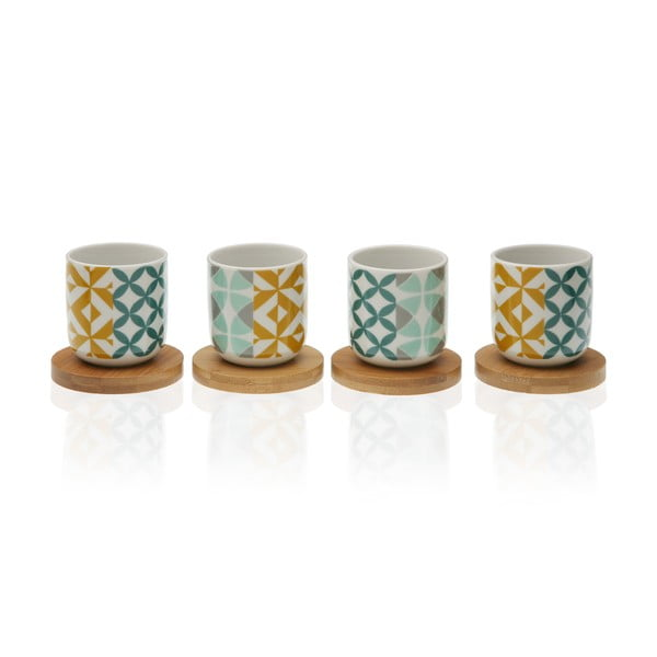 Zestaw 4 filiżanek porcelanowych z bambusowymi spodkami Versa Aquamarina