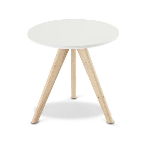 Biały stolik drewniany Furnhouse Life, Ø 40 cm
