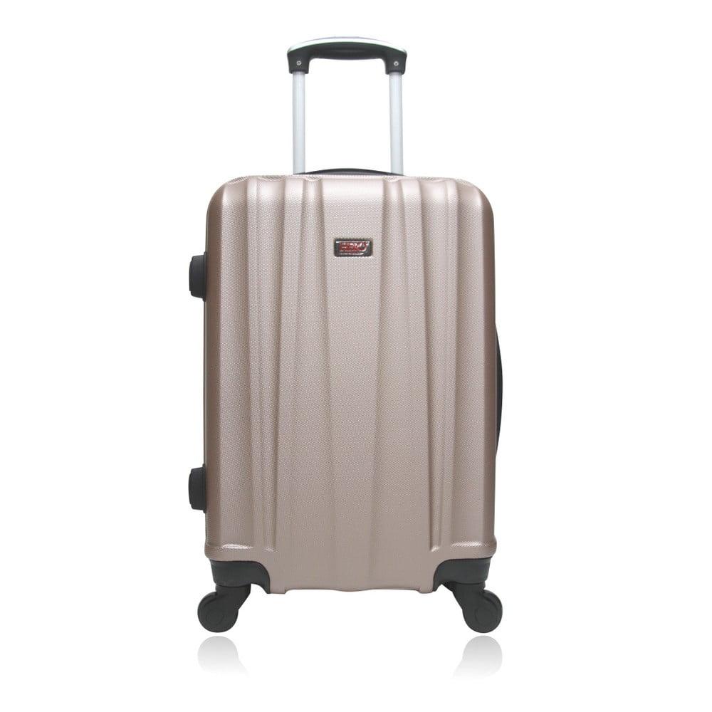 Béžový hnědý cestovní kufr na kolečkách Hero Journey, 61 l